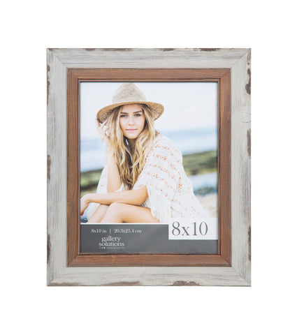 8 x 10 two toned white wash frame