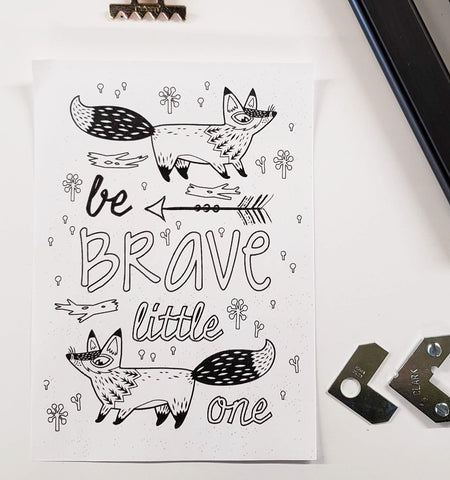 DIY Frame Kit: be brave fox DIY coloring-page