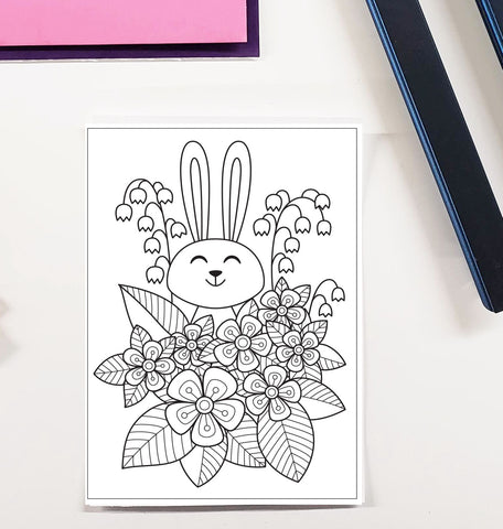 DIY Frame Kit: easter bunny and flowers DIY coloring page double mat
