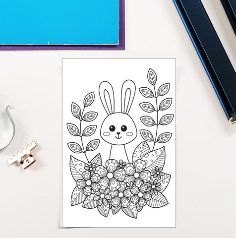 DIY Frame Kit: easter bunny w/ flowers DIY coloring page double mat