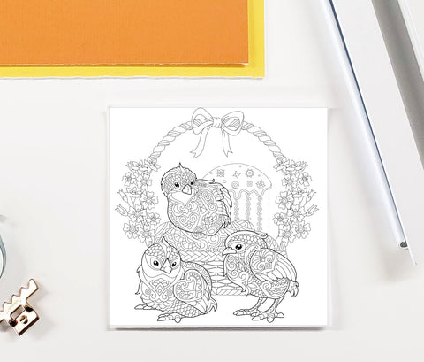 DIY Frame Kit: easter chicks DIY coloring page double mat