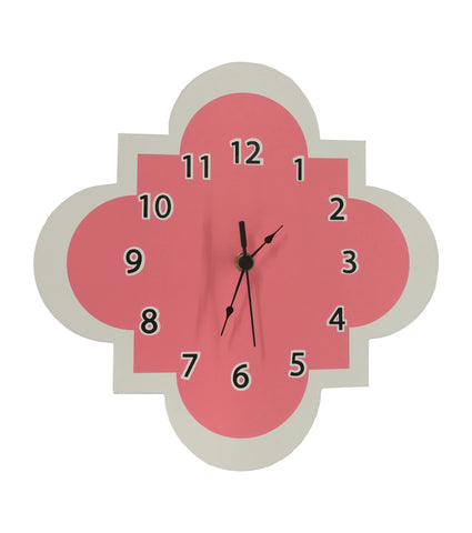 Coral and White Clock