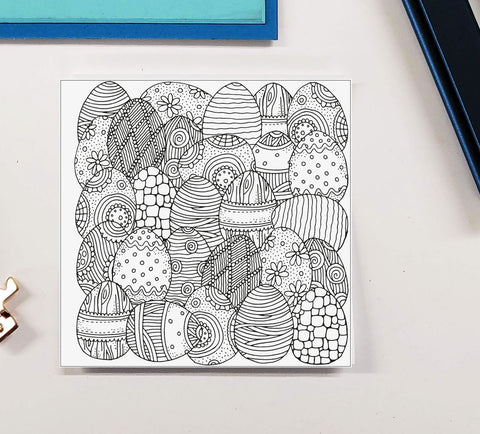 DIY Frame Kit: 3 easter eggs DIY coloring page double mat
