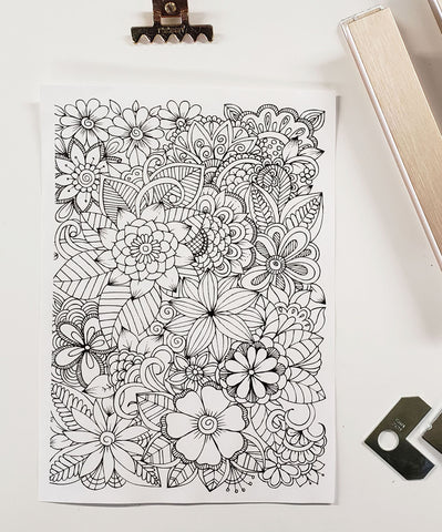 DIY Frame Kit: floral design DIY coloring-page