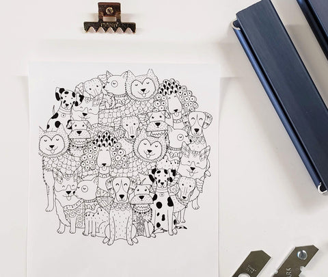 DIY Frame Kit: group of dogs DIY coloring-page