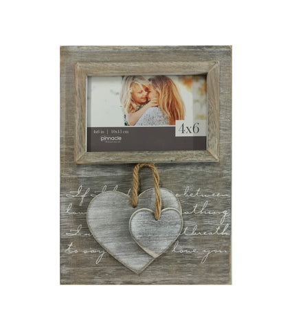 4 x 6 horizontal dangling hearts frame