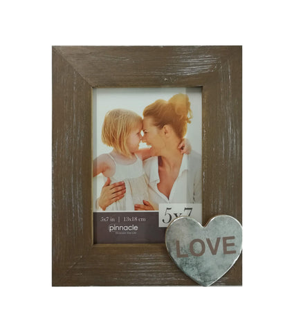 5 x 7 rustic barnwood frame with metal heart