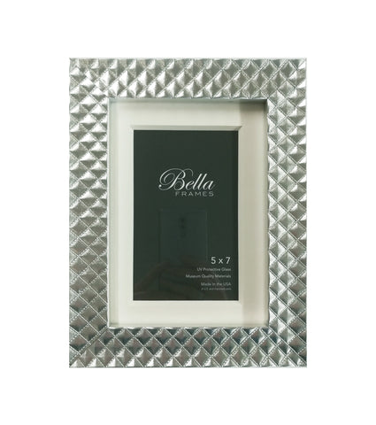 5 x 7 silver quilted patent leather frame