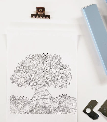 DIY Frame Kit: floral tree DIY coloring-page