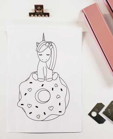 DIY Frame Kit:  unicorn on a donut DIY coloring-page