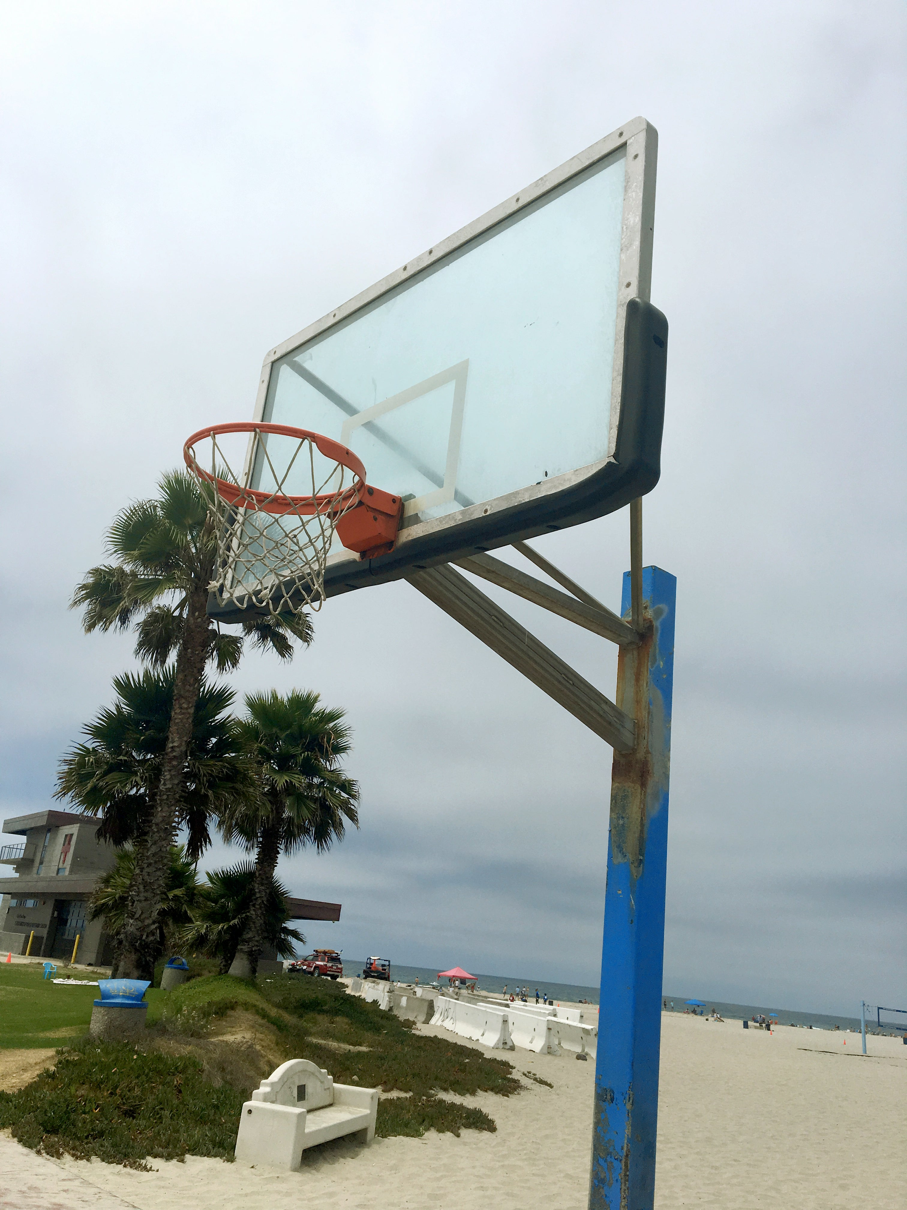 Basketball courts - hoop view looking up