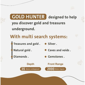 GER Detect Gold Hunter Geolocator Metal Detector - 2019 Last Version - 6 Search Systems + Free Pin-Pointer