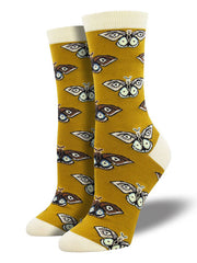 Vintage Moths Bamboo Womens Crew Socks