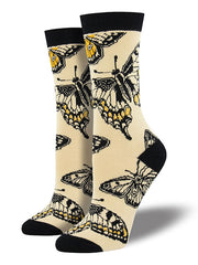 Bamboo Butterfly Womens Crew Socks