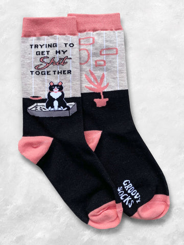 Trying Cat Women's Crew Socks
