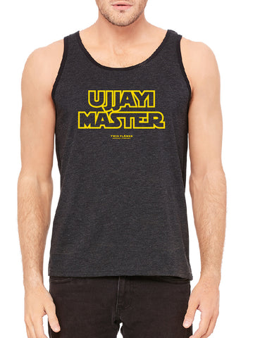 Twin Flames Apparel : Ujjayi Master - Ringer Tank Top (Unisex) - Charcoal Black/Slub Black