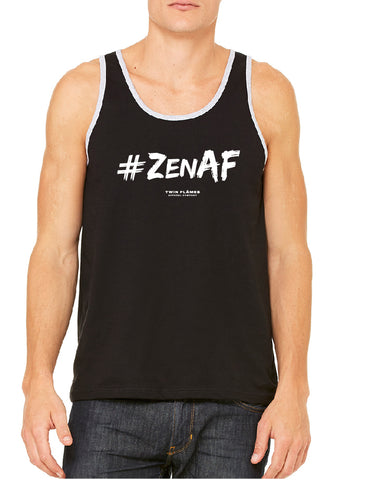 Twin Flames Apparel : #ZenAF - Ringer Tank Top (Unisex) - Black/Athletic Heather