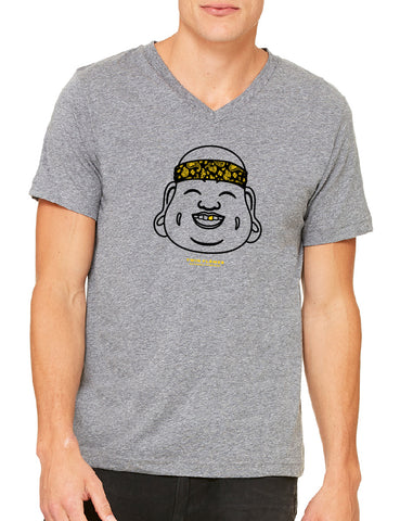 Twin Flames Apparel : Gold Tooth Buddha - V Neck (Gents) - Deep Heather