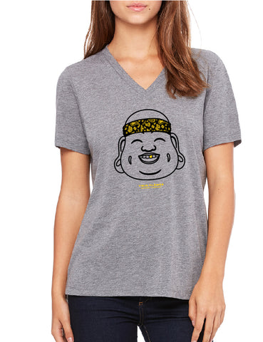 Twin Flames Apparel : Gold Tooth Buddha - V Neck Relaxed (Ladies) - Grey Triblend