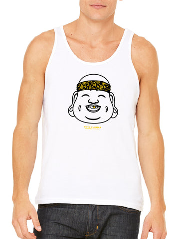 Twin Flames Apparel : Gold Tooth Buddha - Tank Top (Unisex) - White