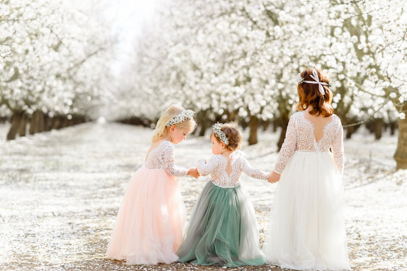 Flower girls tulle scallop edges lace dresses for girls