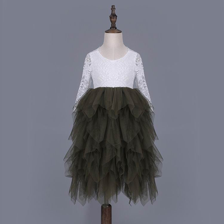 Tea Length Forest Green Tiered Tulle Tutu Lace Top Scalloped Edges Back Party Flower Girl Dress