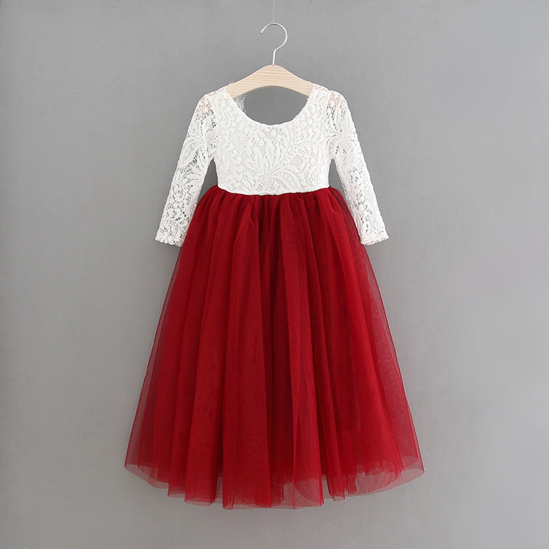 Full Length Wine Red Lace Top Scalloped Edges Back Party Flower Girl Dress