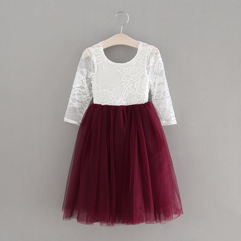 Amber Dress long sleeve/knee length~ Maroon