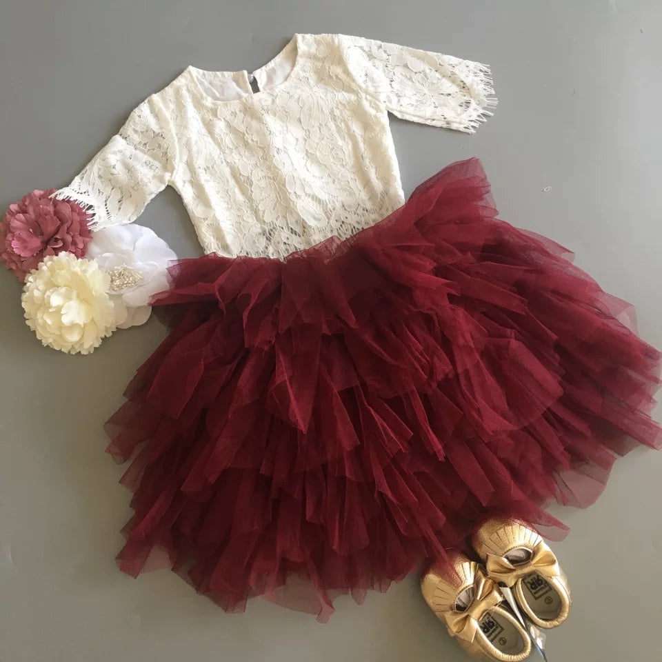 White Top and Maroon Tiered Tulle Skirt Set