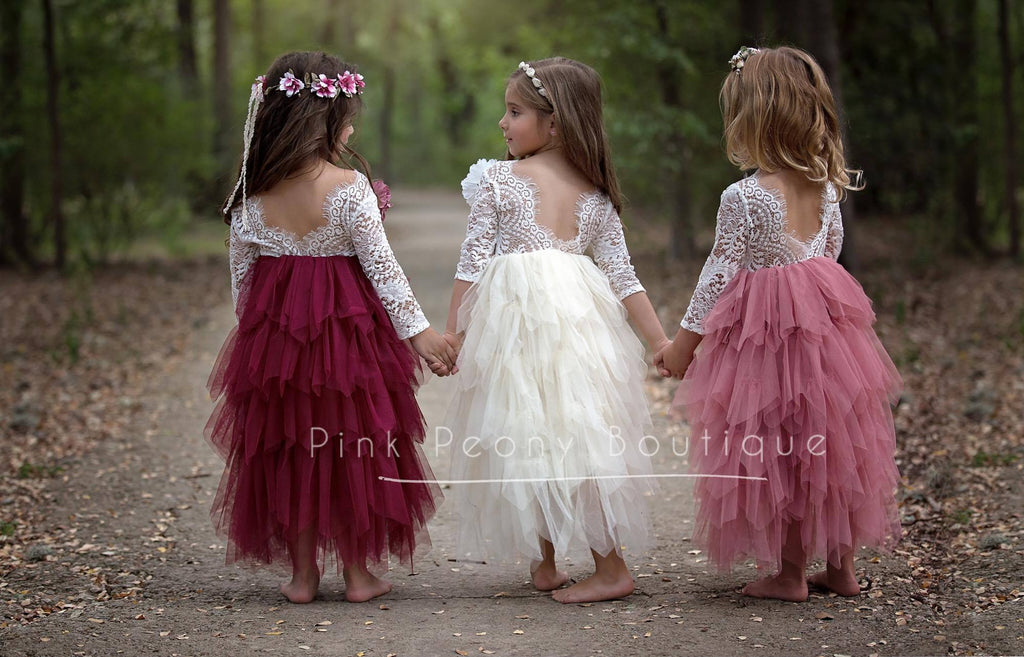 Tea Length Maroon Tiered Tulle Tutu Lace Top Scalloped Edges Back Party Flower Girl Dress