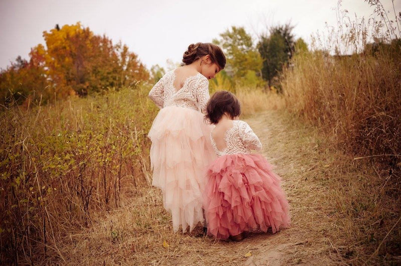 Full Length Pink Tulle Lace Top Scalloped Edges Back Party Flower Girl Dress
