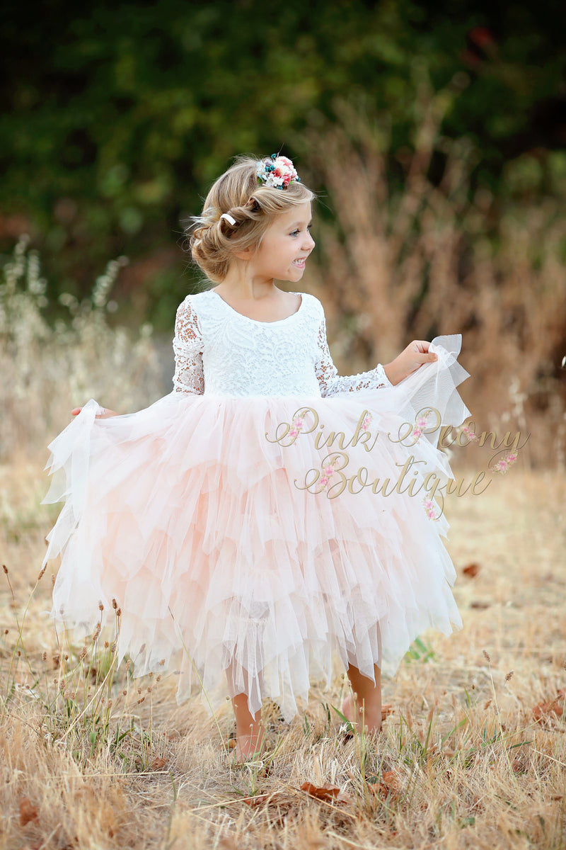 Tea Length Pink Tiered Tulle Tutu Lace Top Scalloped Edges Back Party Flower Girl Dress