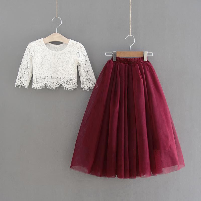 White Lace Top and Maroon Tulle Skirt Set