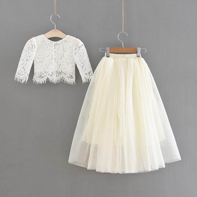 White Lace Top and Cream Tulle Skirt Set