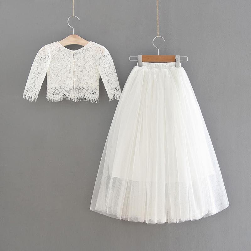 White Lace Top and White Tulle Skirt Set