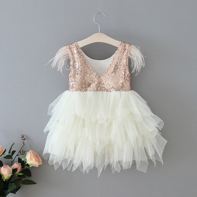 Ostrich Feather Embellished  Sleeveless Rose Gold Sequins Cream Tulle Dress