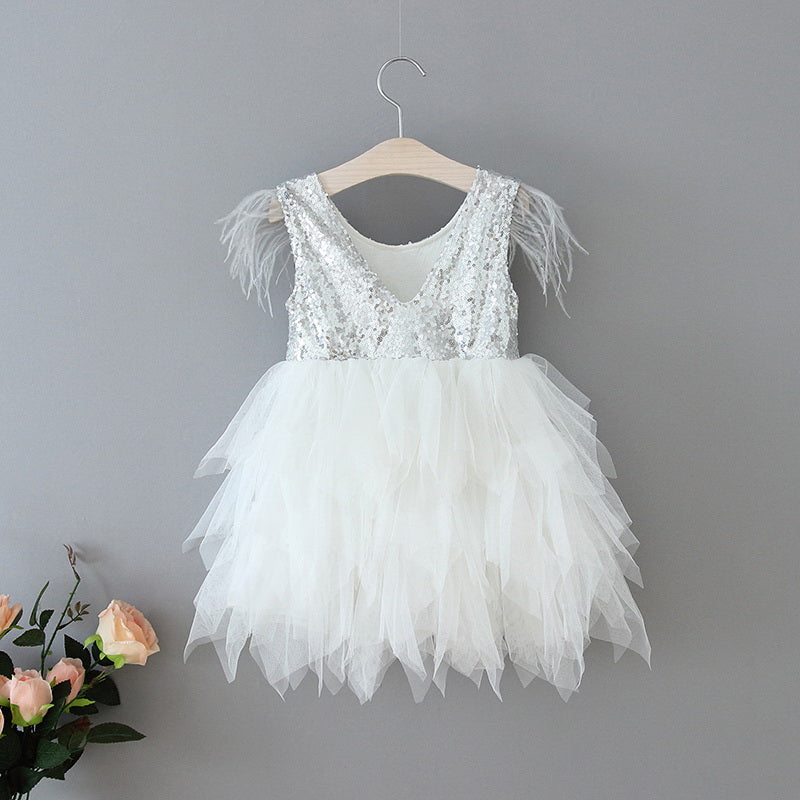 Ostrich Feather Embellished  Sleeveless Silver  Sequins White Tulle Dress
