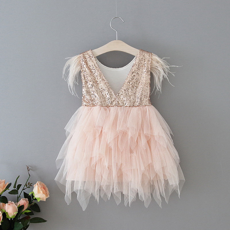 Ostrich Feather Embellished  Sleeveless Gold Sequins Blush Tulle Dress