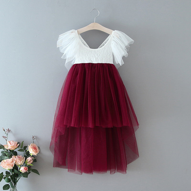 High low maroon boho flower girl dress
