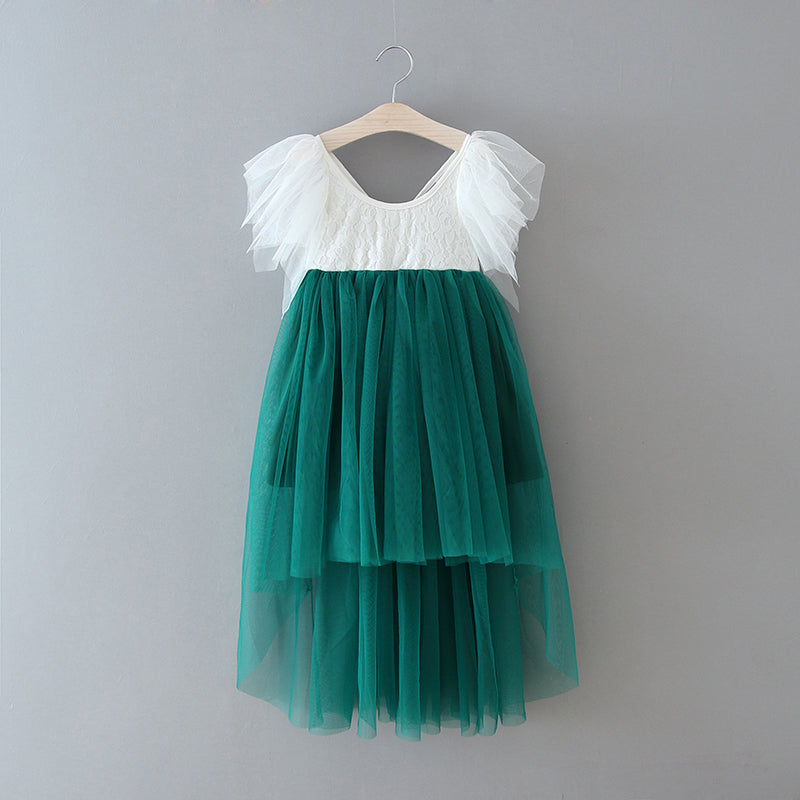 High low green boho flower girl dress