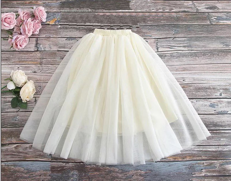 Cream Tulle Skirt
