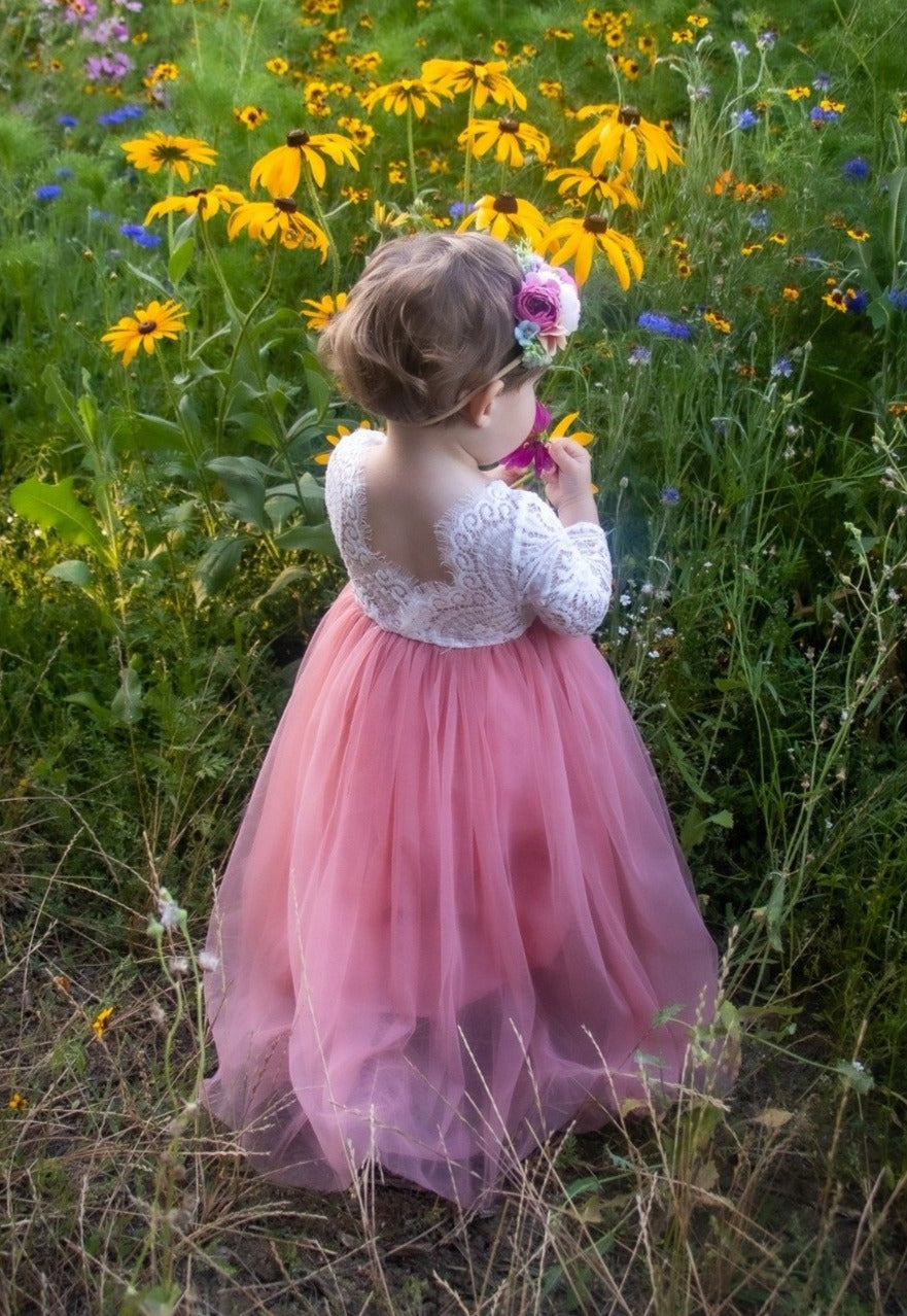 Dusty Rose Tulle Lace Top Scalloped Edges Back Party Flower Girl Dress