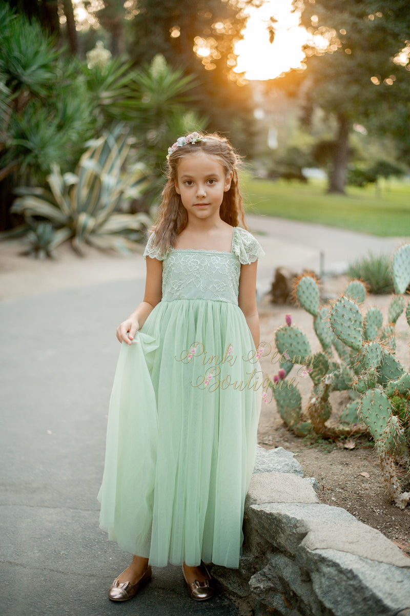 Full Length Steal Blue Tulle Lace Top Scalloped Edges Back Party Flower Girl Dress