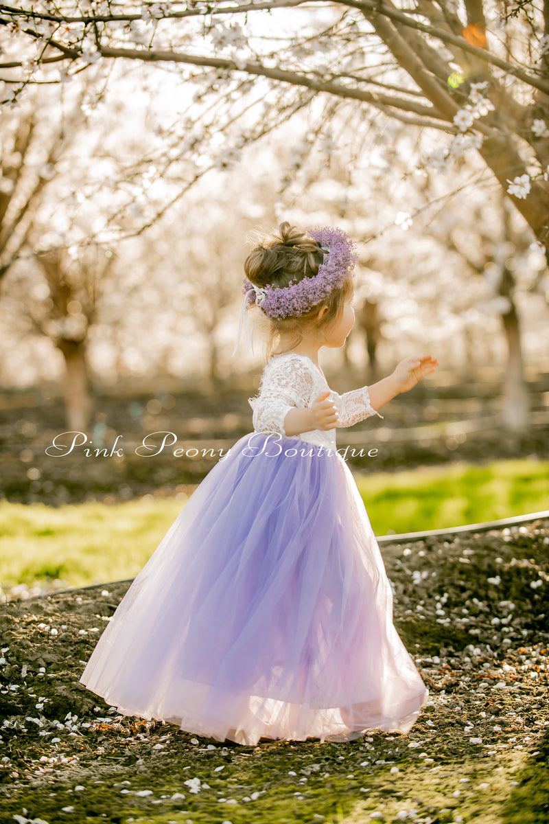 Vintage Violet Light Dusty Purple Tulle Lace Top Scalloped Edges Back Party Flower Girl Dress