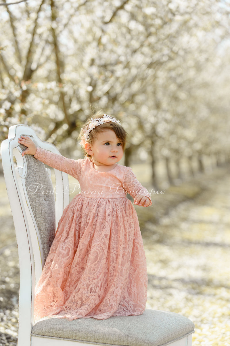 Classic Long Sleeve White Lace Over Flower Girl Dress