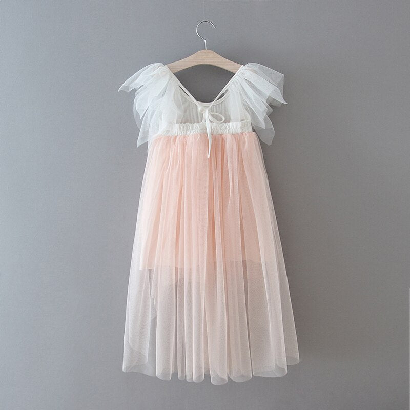 High low pink boho flower girl dress