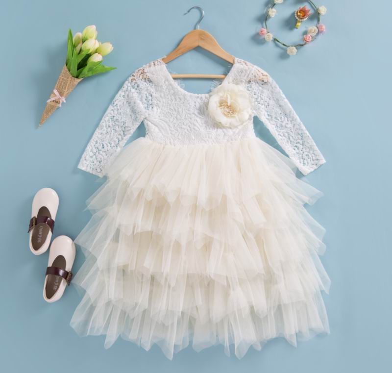 Tea Length Cream Tiered Tulle Tutu Lace Top Scalloped Edges Back Party Flower Girl Dress