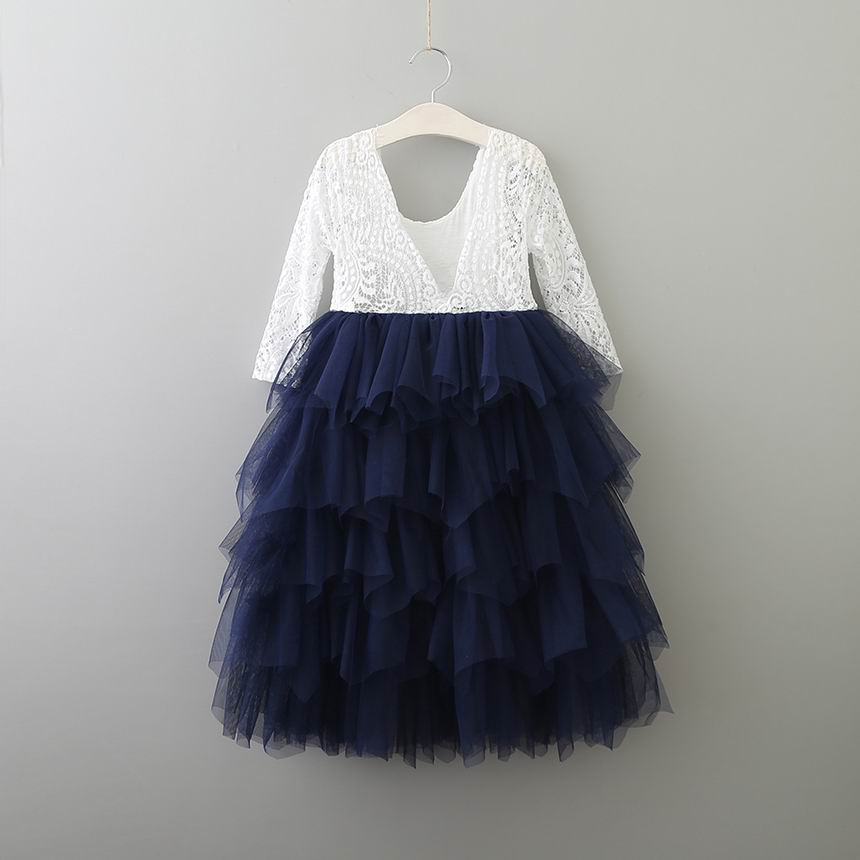 Tea Length Navy Tiered Tulle Tutu Lace Top Scalloped Edges Back Party Flower Girl Dress