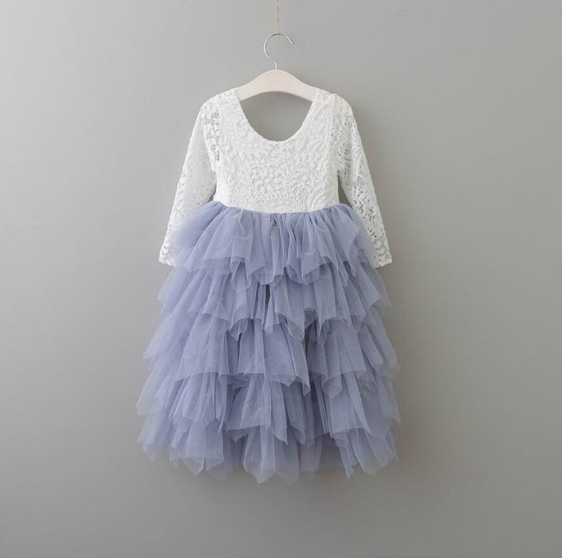 Tea Length Ice Blue Tiered Tulle Tutu Lace Top Scalloped Edges Back Party Flower Girl Dre ss