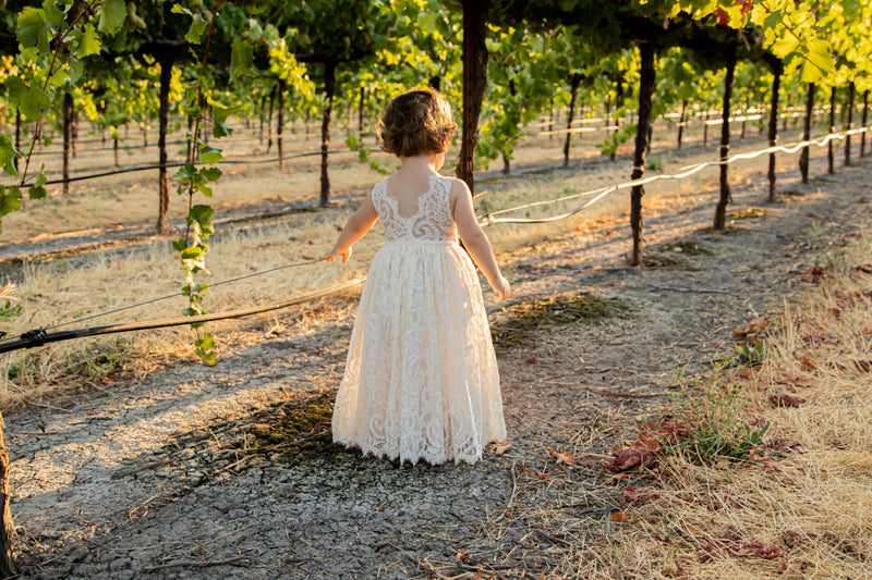 Classic Ivory Lace Over Flower Girl Dress